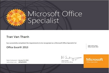 Chứng chỉ MOS Excel 2013